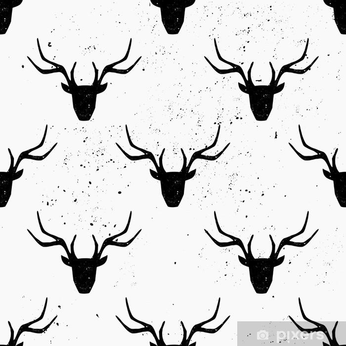 Naklejka Pixerstick Deer Head Silhouette Seamless Pattern - Tła