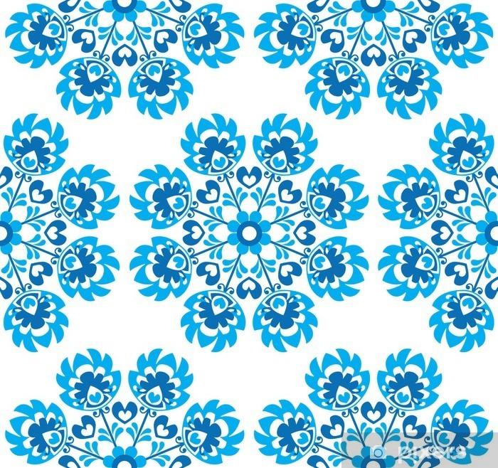 Vinil Duvar Resmi Dikişsiz mavi çiçek Polonya halk sanatı desen - wycinanki - Seyahat