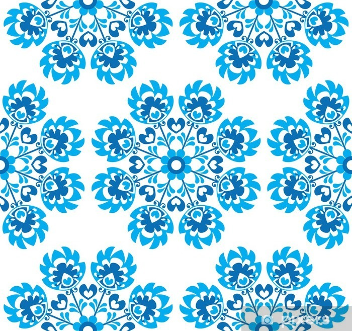 Sticker pour vitres et fenêtres Seamless floral bleu motif d'art folklorique polonaise - wycinanki - Voyages