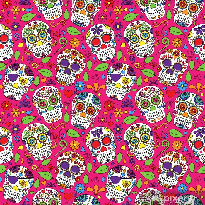 Day of the Dead Sugar Skull Seamless Vector Background Pixerstick Sticker - Religion