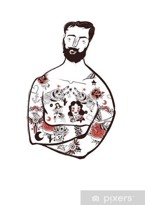 Man with beard and vintage tattoo, hipster Wall Mural - Vinyl