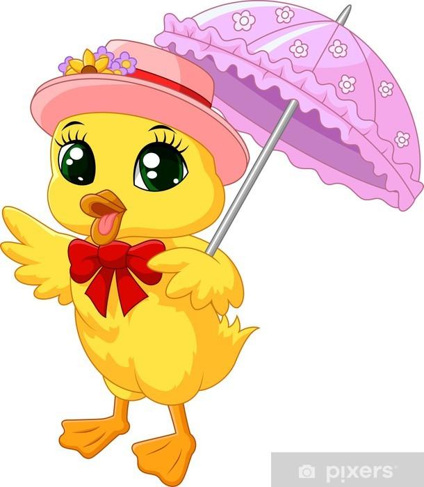Sticker Pixerstick Canard mignon de bande dessinée avec le parapluie rose - Oiseaux