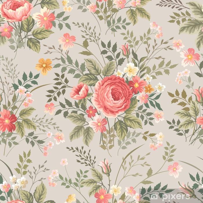 Afwasbaar Fotobehang Naadloze bloemmotief met rozen - Bloemen