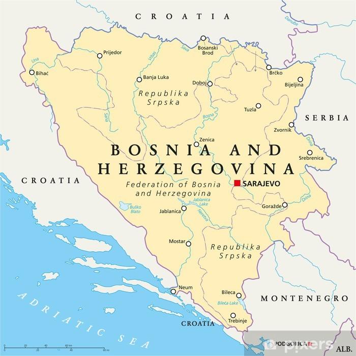 Aufkleber Bosnien Und Herzegowina Politische Karte Pixerstick