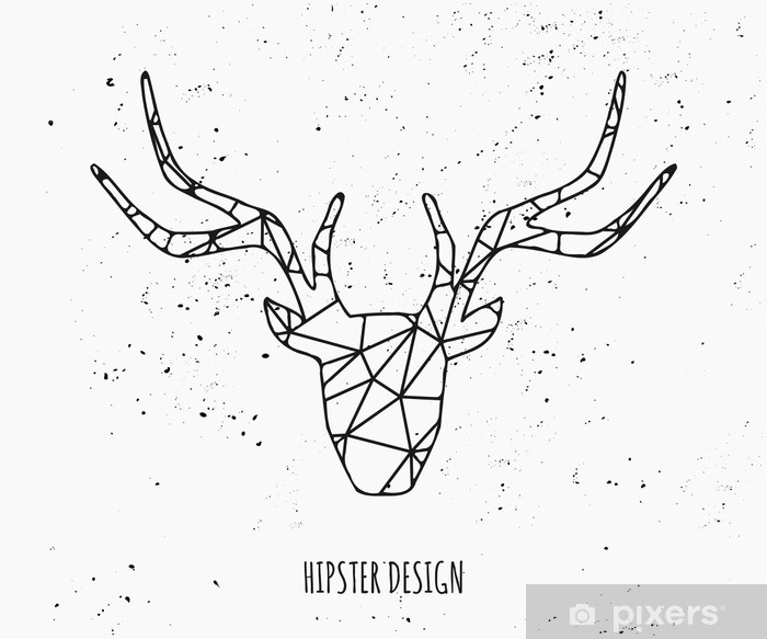 Stylized Deer Head Silhouette Design Vinyl Wall Mural - Signs and Symbols