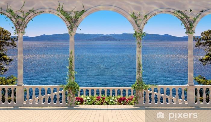 Fototapeta winylowa Taras z balustradą z widokiem na morze i góry - Wakacje