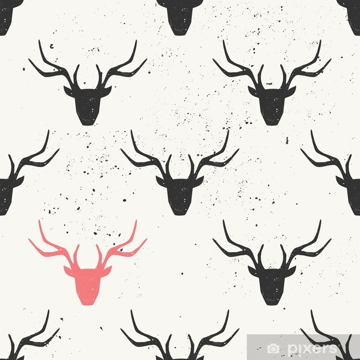 Fototapeta samoprzylepna Deer Head Silhouette Seamless Pattern - Tła
