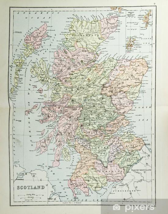 Fotomural Estándar Antiguo mapa de Escocia - la reproducción de atlas c. 1870 - Mapas retro