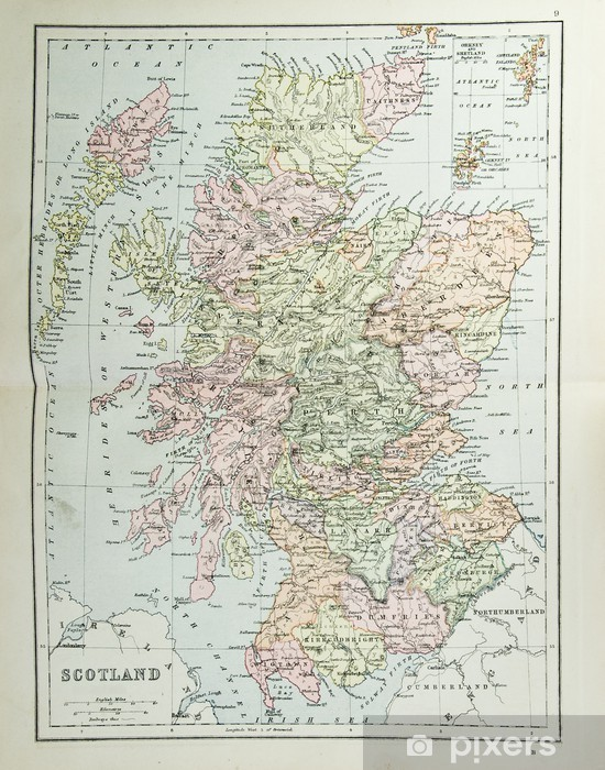 Old map of Scotland - reproduction from atlas c. 1870 Vinyl Wall Mural - Vintage maps