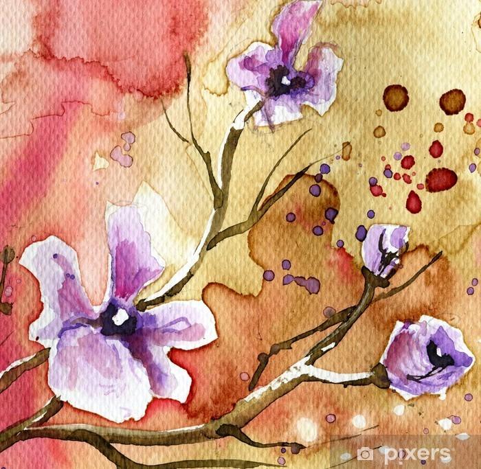 Plakat Kwiaty w tle - Zasoby graficzne