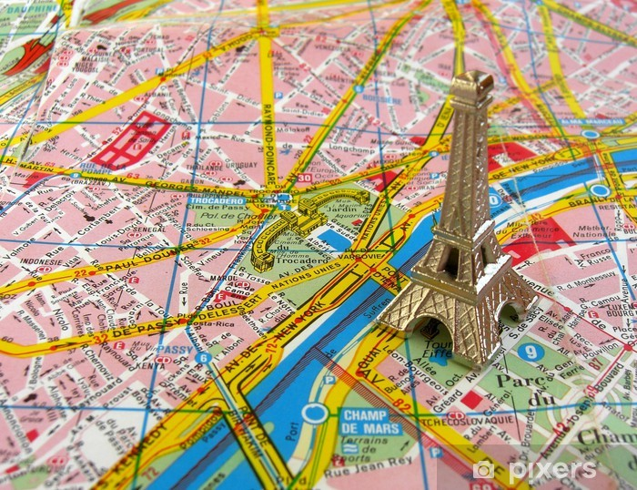 Karte Paris Eiffelturm.Fototapete Eiffelturm Auf Paris Karte