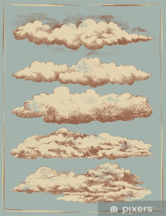 Vinyl Fotobehang Vintage wolk achtergrond vector set - Grafische Bronnen