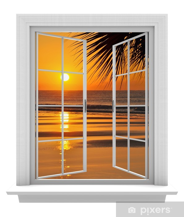 Open window with a tropical beach view and orange sunset Vinyl Wall Mural -