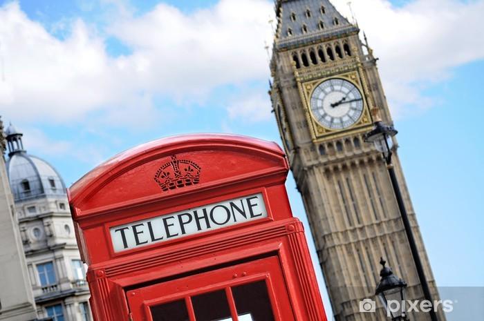 Papier peint vinyle Cabine téléphonique rouge et Big Ben à Londres - Europe