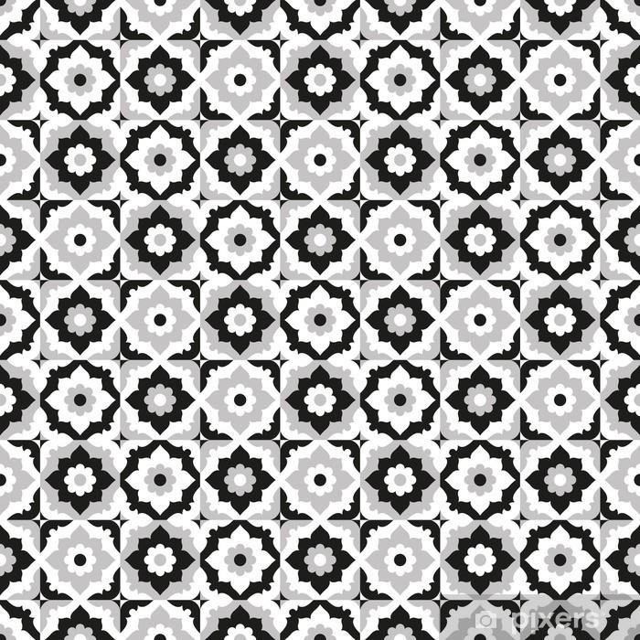 Pixerstick Sticker Naadloos patroon zwart-wit keramische tegels - Borden