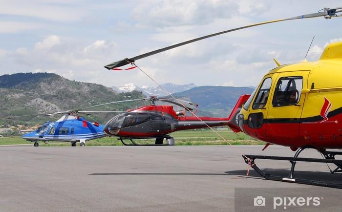 Naklejka Pixerstick Trzy helikoptery - Transport powietrzny