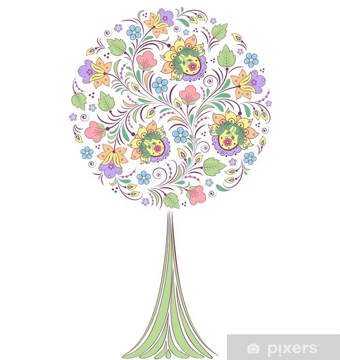 Fototapeta winylowa Kolorowe drzewa na białym tle - Kwiaty