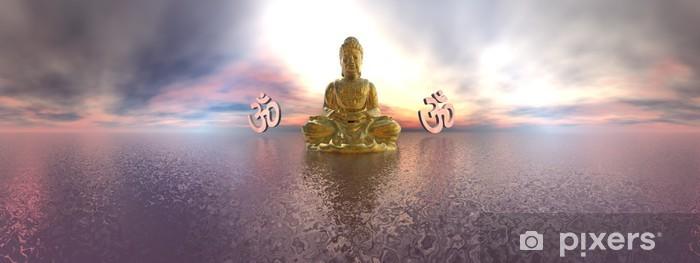 Fototapeta winylowa Budda i Aum symbol - 3D render - Znaki i symbole