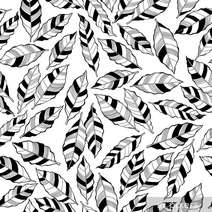Fototapeta zmywalna Monochromatyczny bez szwu abstrakcyjny wzór w paski liści. - Rośliny i kwiaty