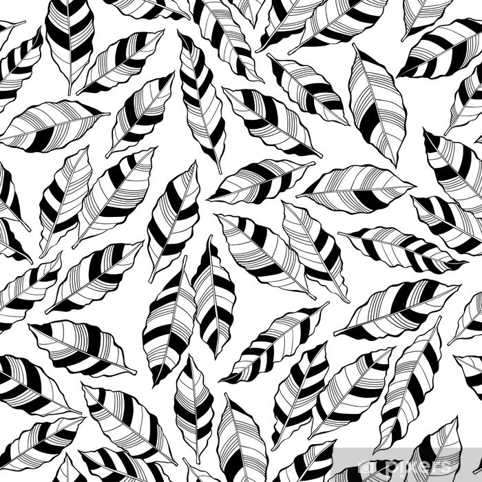 Seamless monochrome pattern with striped abstract leaves. Pixerstick Sticker - Plants and Flowers