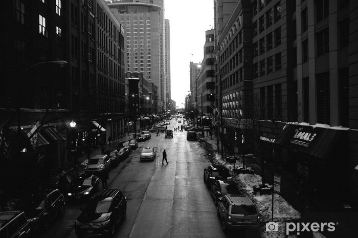 Black and White Chicago Streets Vinyl Wall Mural - Buildings and Architecture