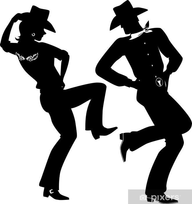 Pixerstick Sticker Silhouet van een cowboy en cowgirl dansen country-western - Amusement