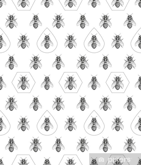 Bees texture. Seamless pattern. Pixerstick Sticker - Science & Nature