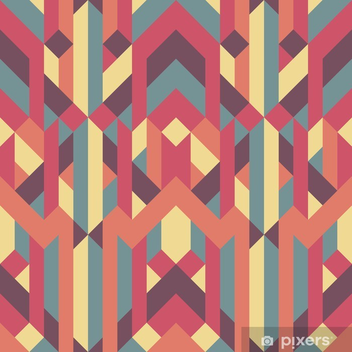 Nálepka Pixerstick Abstraktní retro geometrický vzor - Grafika