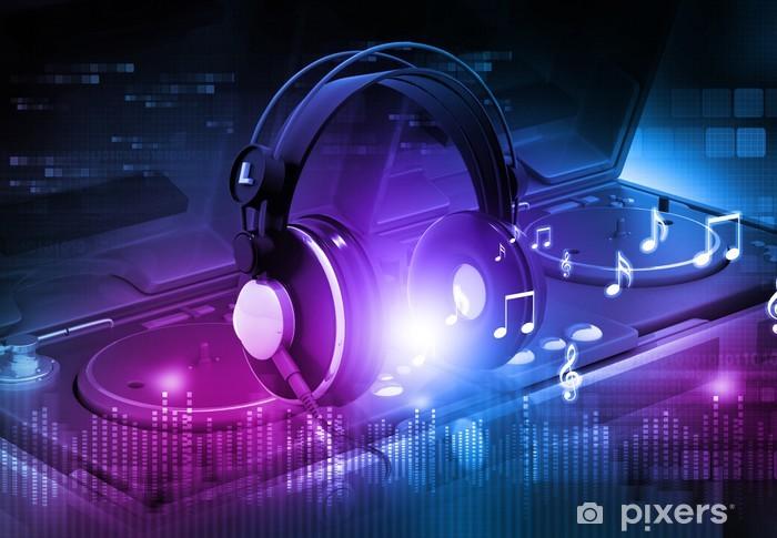 Vinilo Pixerstick Mezclador de DJ con los auriculares, dj fondo del partido. - Señales y símbolos