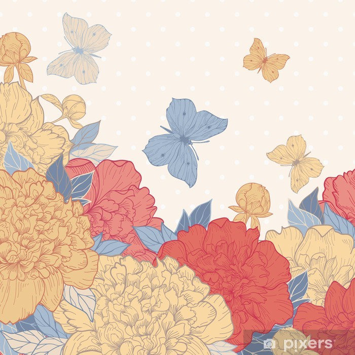 Poster Carte de pivoine et le papillon - Styles