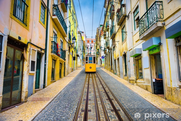 Lisbon, Portugal Old Town Cityscape and Tram Vinyl Wall Mural - iStaging