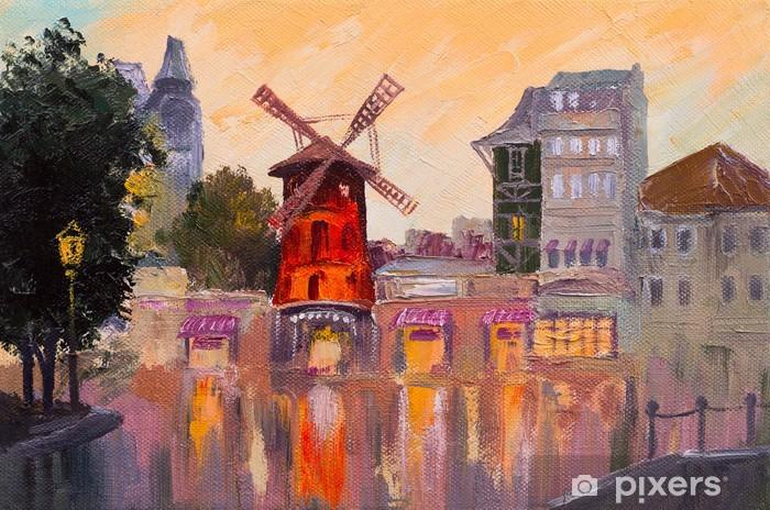 Oil painting cityscape - Moulin rouge, Paris, France Pixerstick Sticker - Art and Creation