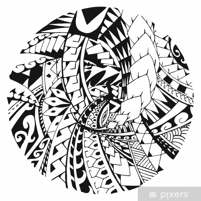 Papier peint vinyle Motif Maori - Signes et symboles