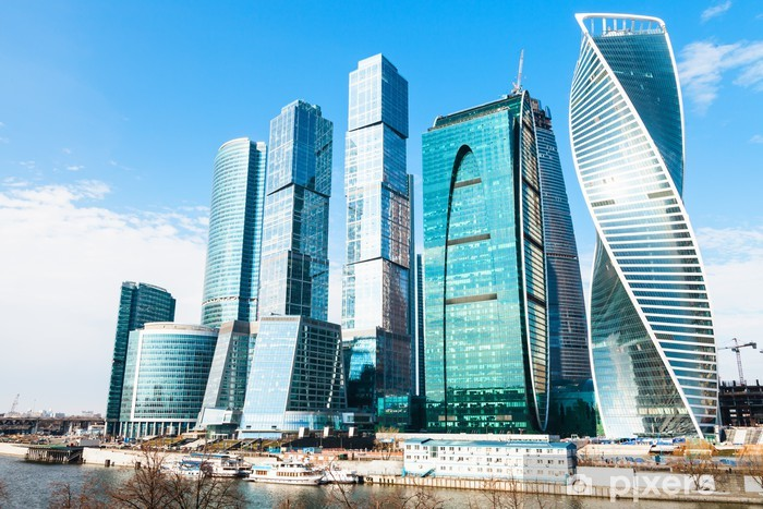 Towers of Moscow City business district in spring Vinyl Wall Mural - Asian Cities