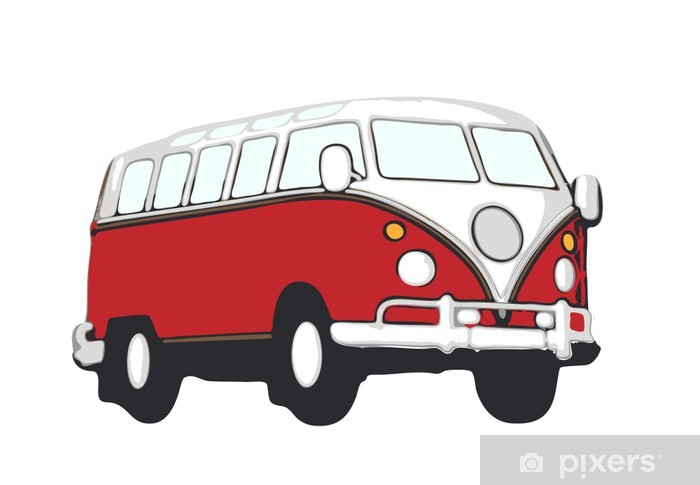 roter vw bus hippie Vinyl Wall Mural - On the Road