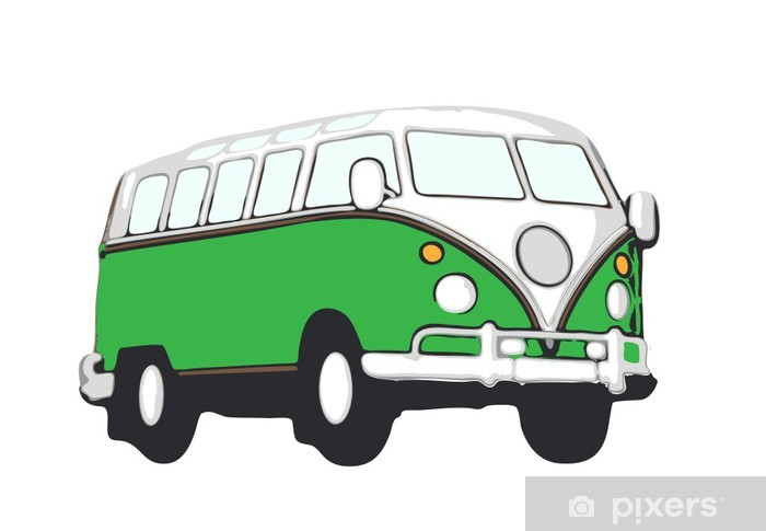 grüner vw bus hippie Vinyl Wall Mural - On the Road