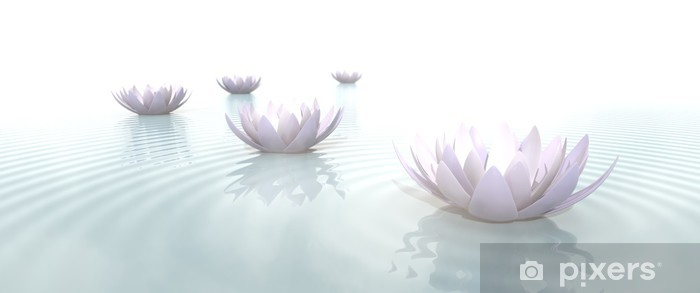 Zen Flowers on water in widescreen Pixerstick Sticker - Flowers