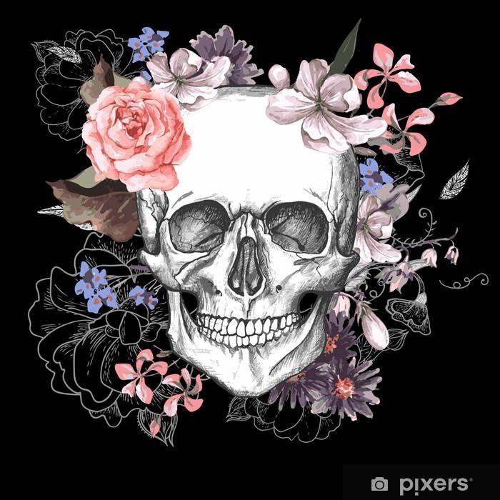 Nálepka Pixerstick Lebka a květiny Den mrtvých - Koncept
