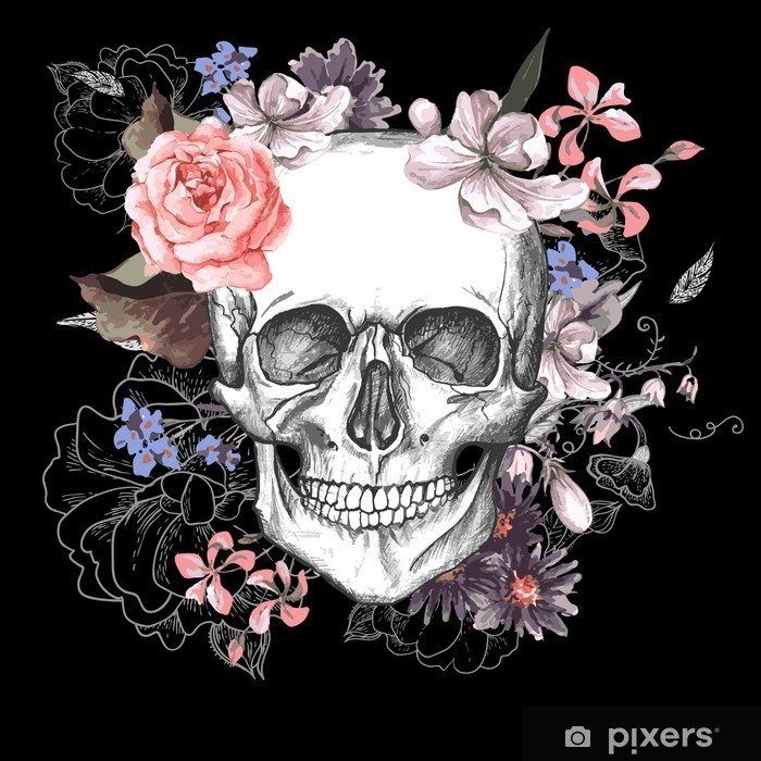 Skull and Flowers Day of The Dead Pixerstick Sticker - Concept