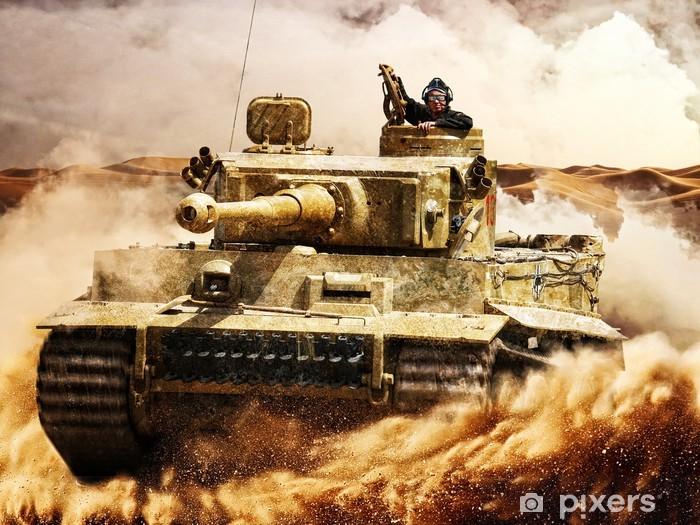 Pixerstick Sticker Vijandelijke tanks bewegen in de woestijn - Misdaad en Geweld