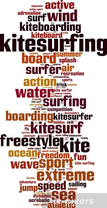 Pixerstick Sticker Kitesurfen word cloud concept. vector illustratie - Watersporten