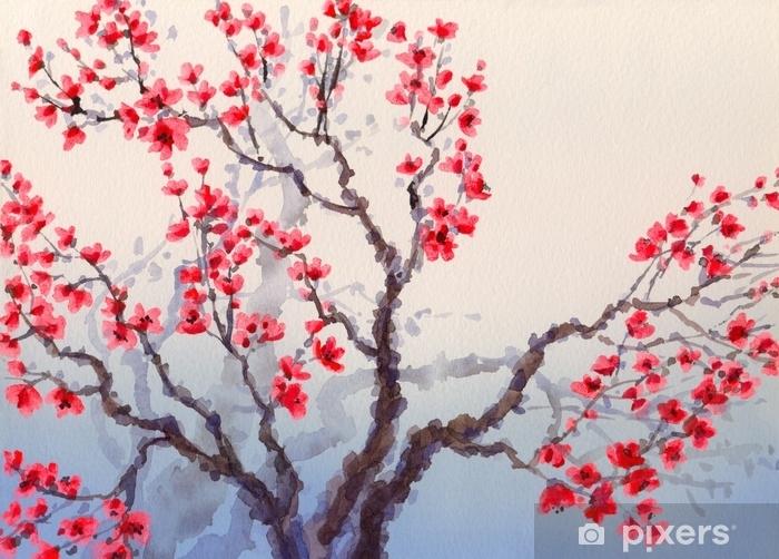 Zelfklevend Fotobehang Waterverflandschap in Chinese stijl. rode bloemen bloeien op de - Hobby's en Vrije tijd