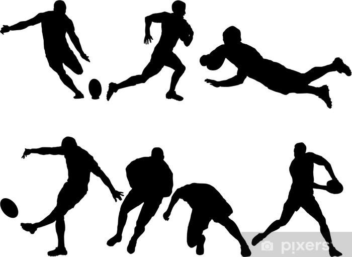 Papier peint vinyle 6 silhouettes de rugby - Sports collectifs