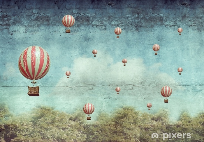 Hot air ballons flying over a forest Vinyl Wall Mural - States of Mind