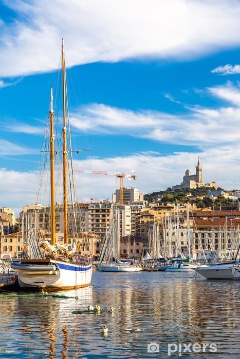 Pixerstick Sticker Notre Dame de la Garde en olf haven van Marseille, Frankrijk - Europa