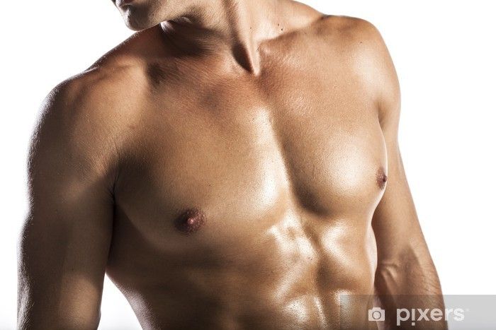 d0c52f75dca787 Fototapeta winylowa Mężczyzna mięśni, nagie ciało mężczyzny mięśni  łacińskiego Europejskiej - Części ciała