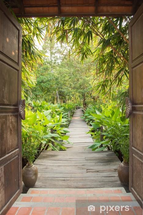 Entrance Gate To Tropical Garden Wall Mural Vinyl