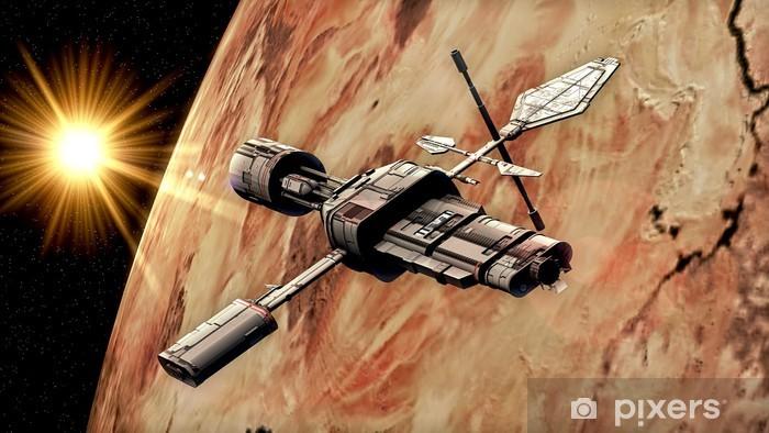 Vinylová fototapeta Space Ship a planeta - Vinylová fototapeta