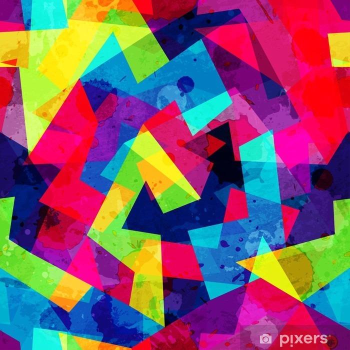 Pixerstick Sticker Heldere geometrische naadloze patroon met grunge effect - Grafische Bronnen