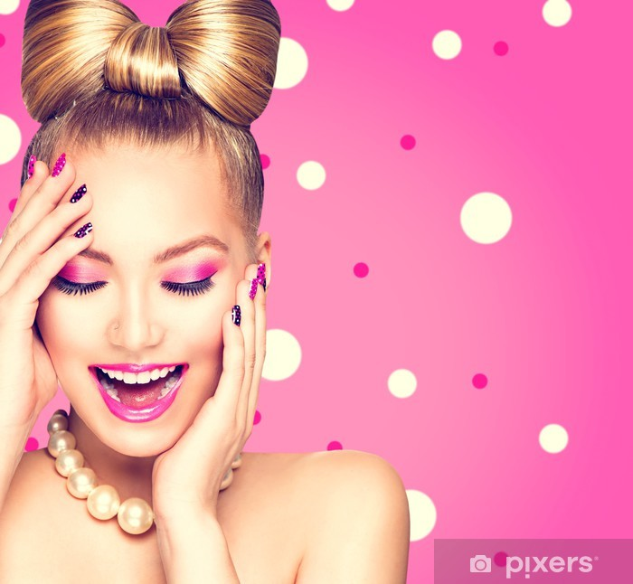 Beauty model girl with bow hairstyle over polka dots background Vinyl Wall Mural - Women
